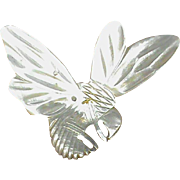 Large Antique Victorian carved Mother of Pearl BEE Brooch