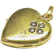 French Antique Victorian 18k 18ct Yellow Gold Seed Pearl Heart Locket Charm small Pendant