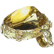 Antique Victorian 15k 15ct Two Color Gold CITRINE Swivel Seal Fob
