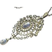 Antique Art Nouveau Sterling Silver Paste & Moonstone Pendant Necklace