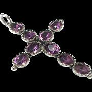 Antique Victorian Sterling Silver purple Paste Cross Pendant