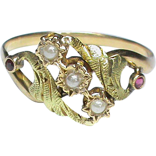 Antique French Art Nouveau 18k 18ct bi-color Gold Ring