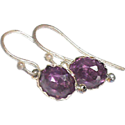 Antique Victorian Sterling Silver Purple Paste Earrings