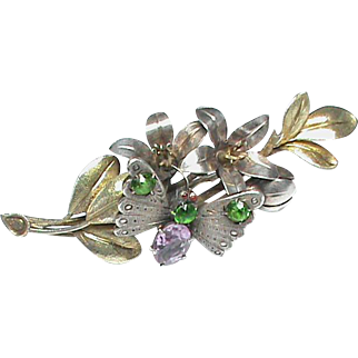 Antique Victorian Large 3D Amethyst & Green Paste Butterfly on Flower Brooch