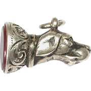 Antique Victorian Sterling Silver DOG Seal Fob Pendant