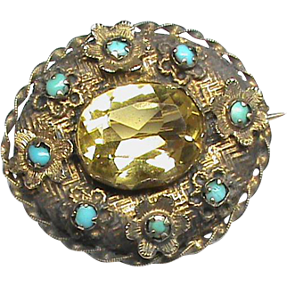 Antique Georgian 15k 15ct Gold Turquoise & Citrine Brooch