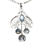 Antique Arts & Crafts Sterling Silver Moonstone Pendant Necklace