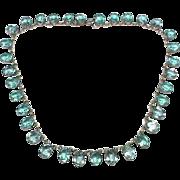 Large Antique Victorian Blue Paste Necklace
