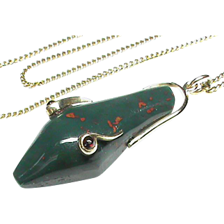 Antique Victorian 9k Gold Garnet Agate Snake Head Pendant Necklace