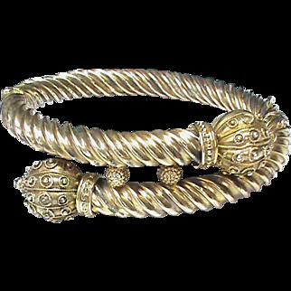 Antique Victorian Sterling Silver gilt Etruscan Bangle