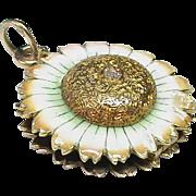 Antique Victorian 1900 15k Gold Enamel Diamond Flower Magnifying Glass Locket Pendant