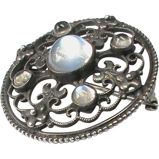 Antique arts crafts sterling silver moonstone brooch sold for Pearl arts and crafts closing