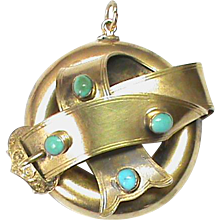 Antique 15k Gold Turquoise Buckle Pendant