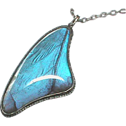 Large Vintage Art Deco Sterling Silver Butterfly Wing Pendant Necklace