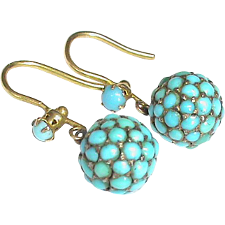 Antique Victorian 9k Gold Turquoise Ball Earrings