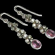 Vintage Art Deco Sterling Silver Paste Earrings