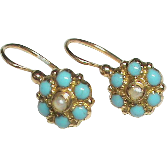 Antique Victorian French 18k Gold Turquoise Seed Pearl Earrings Sold Ruby Lane