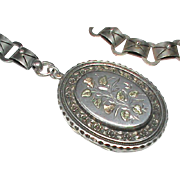 Substantial Antique Victorian Sterling Silver Locket & Collar Book Chain Necklace with applied gold