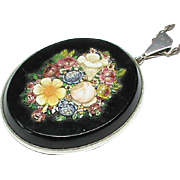 Antique Victorian Sterling Silver Floral Micro Mosaic Pendant & Chain