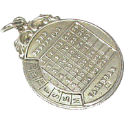 Antique Edwardian 1904 Sterling Silver Perpetual Calendar Fob Pendant