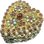 Gorgeous Antique Victorian Silver 800-900 encrusted Garnet & Turquoise HEART Box
