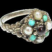 Antique Georgian 9k 9ct Gold Garnet Seed Pearl & Turquoise LOCKET Ring