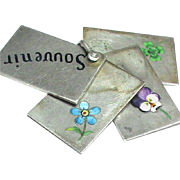 Antique Victorian Silver Enamel Souvenir Book Pendant with lucky four leaf clover, pansy, forget me not flower