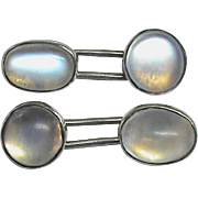 Antique Arts & Crafts Sterling Silver Moonstone Cufflinks