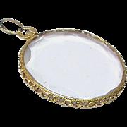 Large Antique Edwardian 18k Pierced Gold Double Sided Photo Locket Pendant
