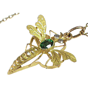 Antique Art Nouveau French 18k Gold Diamond Insect Pendant Necklace