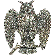 Antique Victorian Sterling Silver Large OWL Brooch