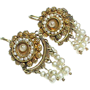 Antique 19th Century 18k - 22k Gold Natural Seed Pearl Earrings