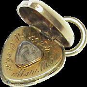 Antique Georgian 1825 15k Gold Mourning Heart Charm Pendant