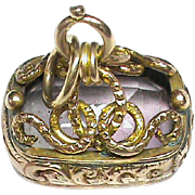 English Antique Edwardian 1902 9k Gold Amethyst Seal