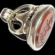 Antique Victorian 9k Gold Family Crest Agate Intaglio Seal