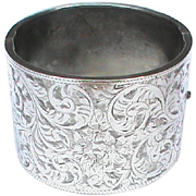 Vintage English 1948 Sterling Silver WIDE Bangle