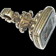 Antique Victorian 15k Gold Family Crest Dog Intaglio Seal