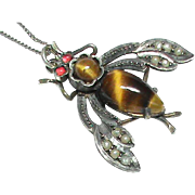Antique Victorian Sterling Silver Tigers Eye & Seed Pearl Insect Pendant