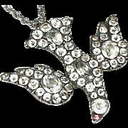 Antique Georgian St Esprit Sterling Silver Paste Pendant Necklace