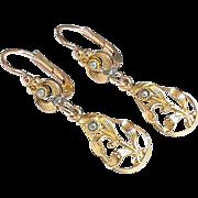 Antique Art Nouveau Gold Filled Earrings