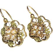 Antique Victorian c1900 18k Two Color Gold Seed Pearl French Earrings