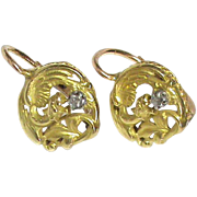 Antique Victorian c1900 18k Gold Diamond Mythical Dragon Earrings