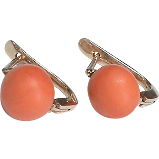 Antique Edwardian 9k Rose Gold Coral Earrings