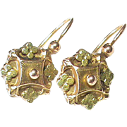 Antique Victorian c1900 French 18k Bi-color Gold Earrings
