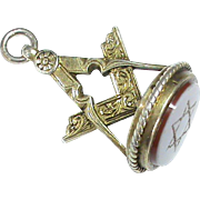 Antique Victorian Sterling Silver gilt MASONIC Seal Fob with star intaglio