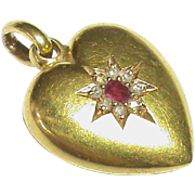 English Antique Victorian 1900 15k Gold Ruby Diamond Heart Charm / Pendant