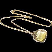 Antique Edwardian 9k Gold Citrine Swivel Fob Pendant on 9ct chain