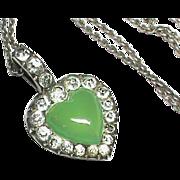 Antique Edwardian Silver 900 Paste & Chrysoprase Heart Pendant