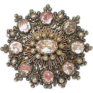 Antique Georgian 18k Gold Gemstone Brooch with glazed mourning locket holding hair
