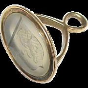 Antique Georgian 15k Gold Family Crest Intaglio Seal
